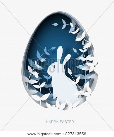 3d Abstract Paper Cut Illustration Of Colorful Paper Art Easter Rabbit, Grass, Flowers And Blue Egg