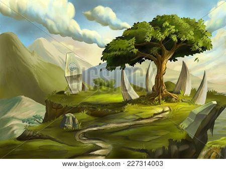 Sacred tree in a fantasy landscape. Digital illustration.
