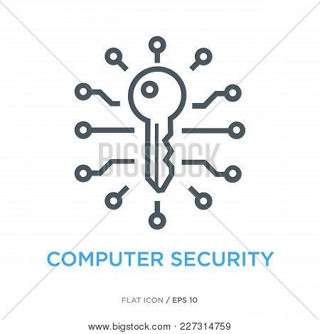 Key In Center Of Microchip As Computer Security Symbol. Simple Line Flat Icon.