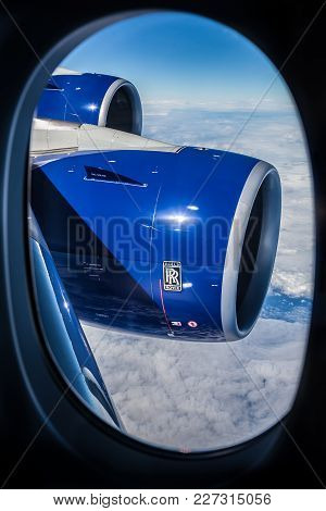 Johannesburg, South Africa, 02/06/2014, View Of A Rolls Royce Jet Engine Through An Airplane Window