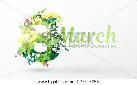 Women's Day Design With An Ornament Of Realistic Flowers, Branches, Leaves And Forest Plants. Spring