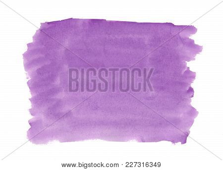 Abstract Texture Brush Ink Background Purple, Violet Aquarel Watercolor Splash Hand Paint On White B