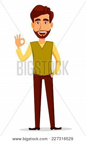 Business Man With Beard, Cartoon Character. Young Handsome Businessman In Smart Casual Clothes Showi