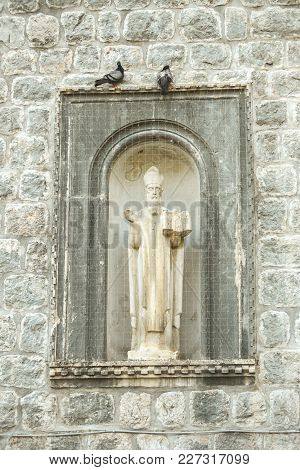 The Statue Of Saint Vlaho On The Walls Of Old Town In Dubrovnik, Croatia.