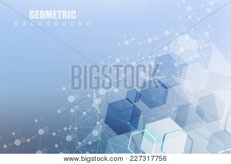 Geometric Abstract Background With Connected Line And Dots. Structure Molecule And Communication. Sc