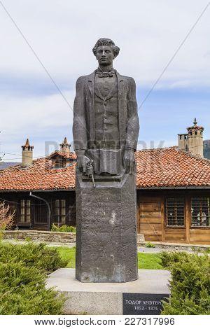 Veliko Tarnovo, Bulgaria - April 03, 2015: Todor Lefterov Statue,the Monument Dating From 1980. It I