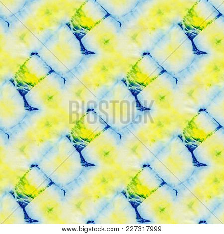 Seamless Tie-dye Pattern Of Blue And Yellow  Color On White Silk. Hand Painting Fabrics - Nodular Ba