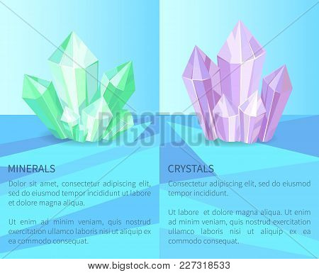 Minerals And Crystals, Collection Of Posters With Text And Letterings, Precious Stones Set, Vector I