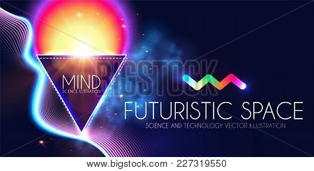 Abstract Geomrtic Banner With Neon Lights. Trendy Party Poster Template. Futuristic Space. Magic And