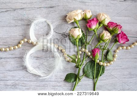 8 March Symbol. Figure Of Eight Made Of Delicate White Feathers.. Happy Womans Day Design. Can Be Us