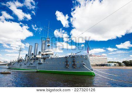 Cruiser Aurora On The Neva River In St. Petersburg,24.09.2016  Russia
