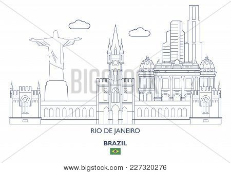Rio De Janeiro Linear City Skyline, Brazil. Famous Places