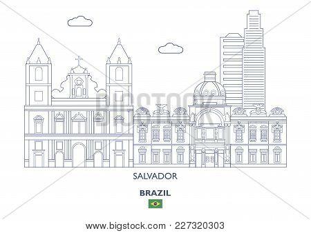 Salvador Linear City Skyline, Brazil. Famous Places