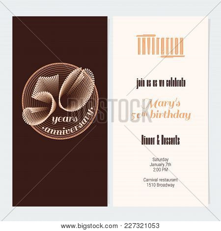 50 Years Anniversary Invitation Vector Illustration. Graphic Design Element For 50th Birthday Card,