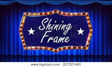 Blue Theater Curtain With Gold Frame Vector. Blue Background And Light Bulbs Frame. Realistic Retro