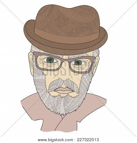 Portrait Of A Grandpa With A Mustache Zen Tangle Vector Illustration. Age Man In A Hat And Glasses.
