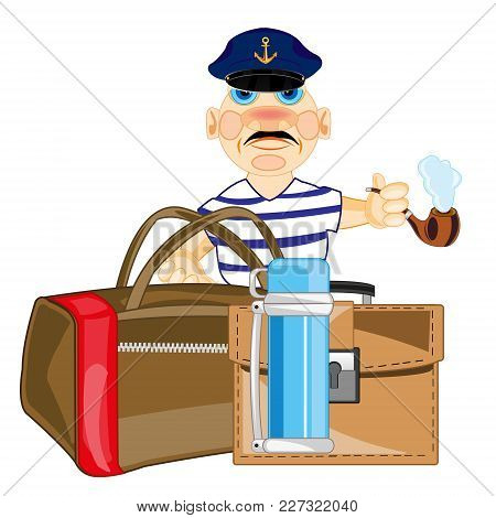 Man Sailor With Road Bag And Package