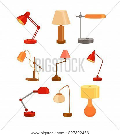 Desk Lamp Set Modern Cartoon Colorful Vector Illustration. Table Bulb Office Workplace Design Elemen