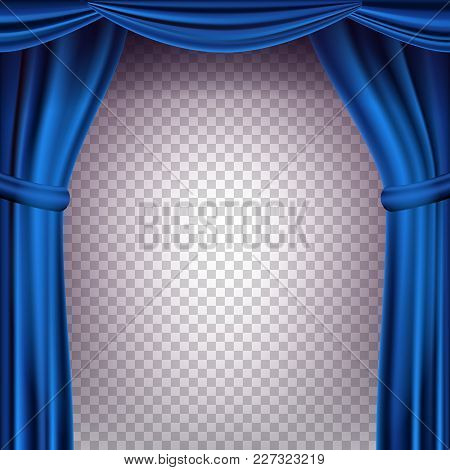 Blue Theater Curtain Vector. Transparent Background. Banner For Concert, Theater. Opera Or Cinema Em