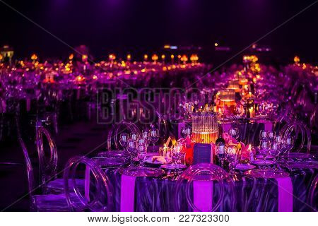 Purple Decor Setting For A Gala Dinner Or Event