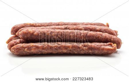 Hungarian Dry Sausages Pepperoni Stack Isolated On White Background Smoked In Natural Casing Mixed P