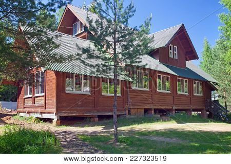 A Big Village Wooden House  In A Rural Area