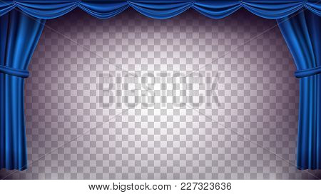 Blue Theater Curtain Vector. Transparent Background. Banner For Concert, Party, Theater, Dance Templ