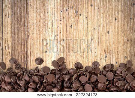 Drops Dark Chocolate Table White Background Nobody