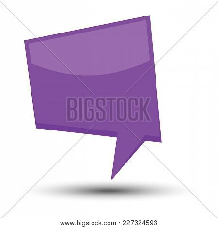 Purple Cartoon Comic Balloon Speech Bubble Without Phrases And With Shadow. Vector Illustration.