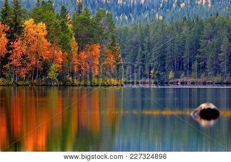 Kuusamo Lake (kuusamojärvi)  In Autumn Colors, Northern Finland.