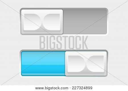 On And Off Blue Slider Buttons. Vector 3d Illustration