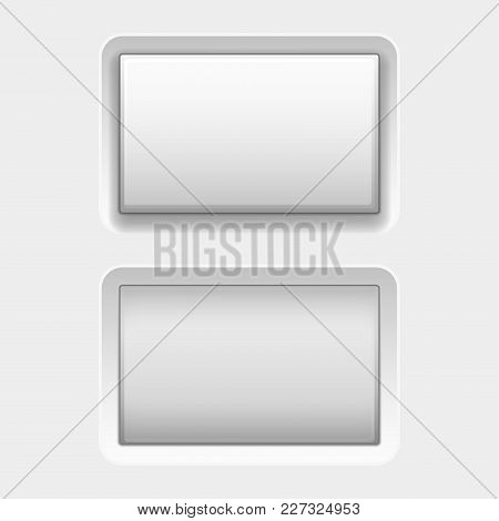 White Square Buttons. Web Interface Plastic Blank Buttons, Normal And Pushed. Vector 3d Illustration