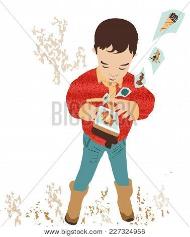 Happy, Joyful, Little Boy Playing With Mobile Phone. Fun Baby Looking For Baby Pictures In The Mobil
