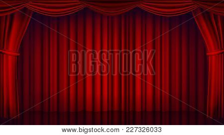 Red Theater Curtain Vector. Theater, Opera Or Cinema Empty Silk Stage, Red Scene. Realistic Illustra
