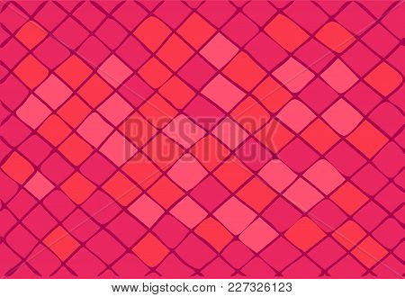 Bright Pink Background Consisting Of Squares And Rhombuses. Vector