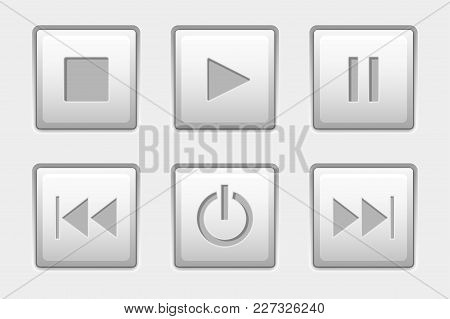 Media Control Buttons. Set Of Square White Buttons. Vector 3d Illustration