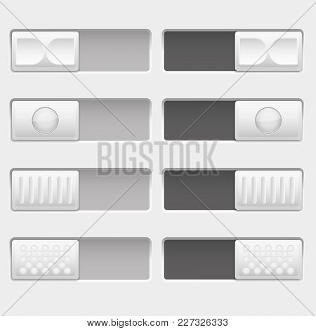 On And Off Control Slider Buttons. Set Of White Interface Buttons. Vector 3d Illustration