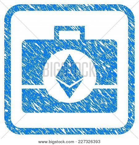 Ethereum Crystal Case Rubber Seal Stamp Imitation. Icon Vector Symbol With Grunge Design And Dirty T