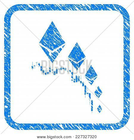 Ethereum Deflation Chart Rubber Seal Stamp Watermark. Icon Vector Symbol With Grunge Design And Uncl