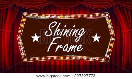 Theater Curtain, Frame Light Bulbs Vector. Blue Background. Blue Silk Textile. Shining Retro Light B
