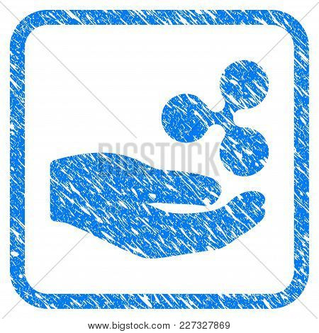 Hand Offer Ripple Rubber Seal Stamp Watermark. Icon Vector Symbol With Grunge Design And Dust Textur