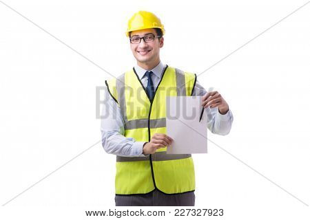 Construction supervisor with blank sheet isolated on white backg