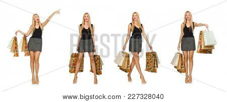 Blond hair model holding plastic bags isolated on white