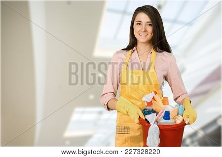 Woman Clean Supplies Cleaning Young Adult Background View