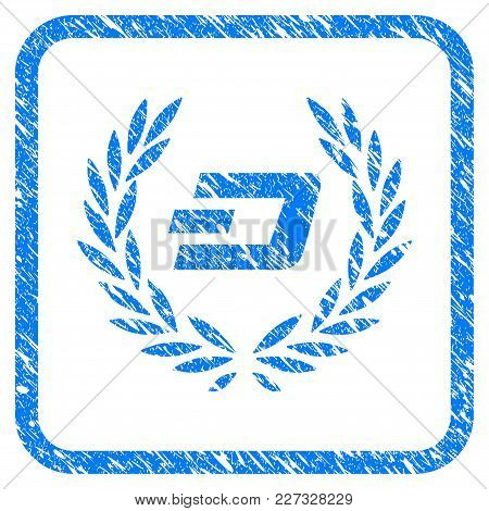 Dashcoin Laureal Wreath Rubber Seal Stamp Imitation. Icon Vector Symbol With Grunge Design And Uncle