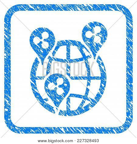 Global Ripple Points Rubber Seal Stamp Imitation. Icon Vector Symbol With Grunge Design And Corrosio
