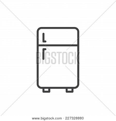 Two Door Refrigerator Outline Icon. Linear Style Sign For Mobile Concept And Web Design. Freezer Sim
