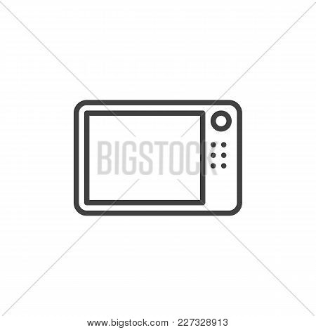 Microwave Oven Outline Icon. Linear Style Sign For Mobile Concept And Web Design. Simple Line Vector