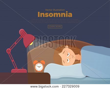 Sleepless Woman Face Cartoon Character Suffers From Insomnia. Girl With Open Eyes In Darkness Night