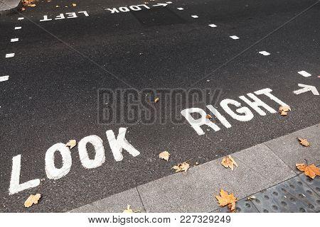 Caution Road Marking For Pedestrians